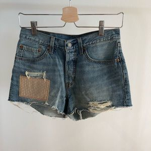 Levi's 501 high waist distressed denim jean shorts
